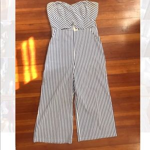 Blue and white striped jumpsuit